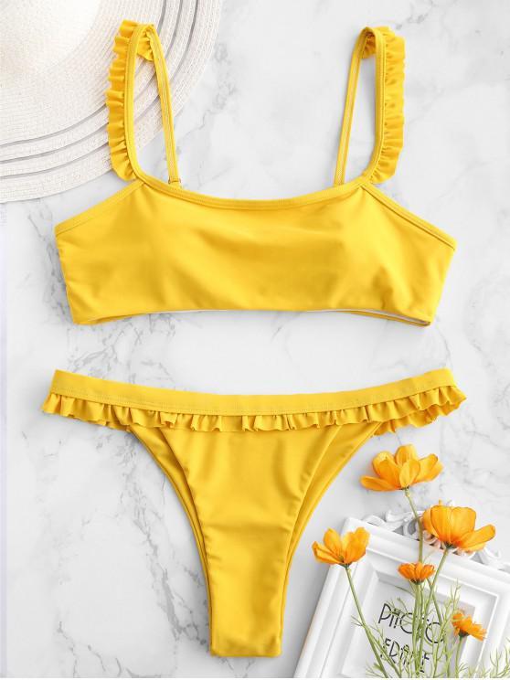 best ZAFUL Ruffle Low Waisted Bikini Set - GOLDEN BROWN L