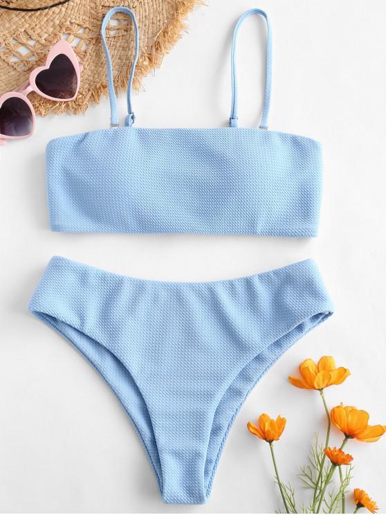 fashion ZAFUL Textured Bandeau Bikini Set - DAY SKY BLUE L