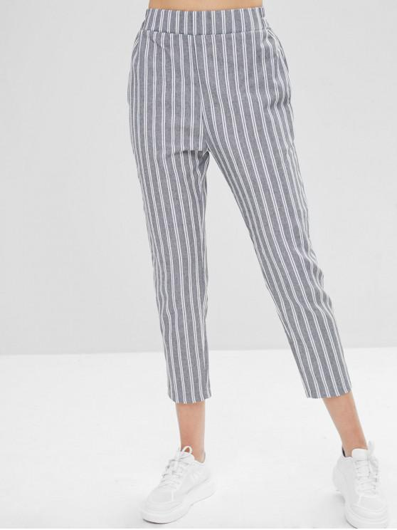 ladies Striped Straight High Waisted Pants - MULTI M