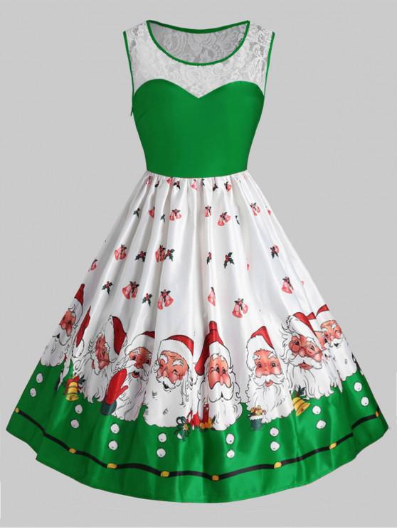 Plus Size Christmas Santa Claus Vintage Flare Dress - Verde 3X
