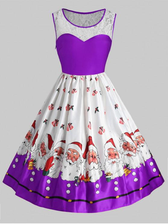 Plus Size Christmas Santa Claus Vintage Flare Dress - Violet L