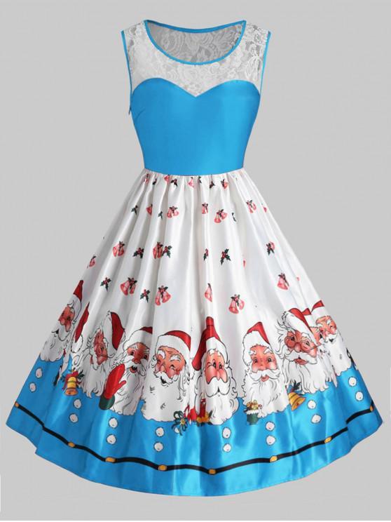 Plus Size Christmas Santa Claus Vintage Flare Dress - Deep Sky Blue L