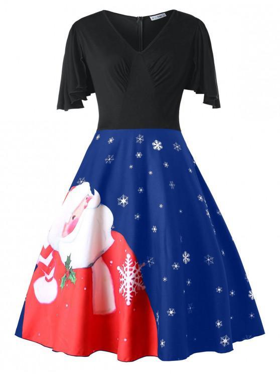 Plus Size Christmas Santa Claus Print Vintage Dress - Blueberry Blue L