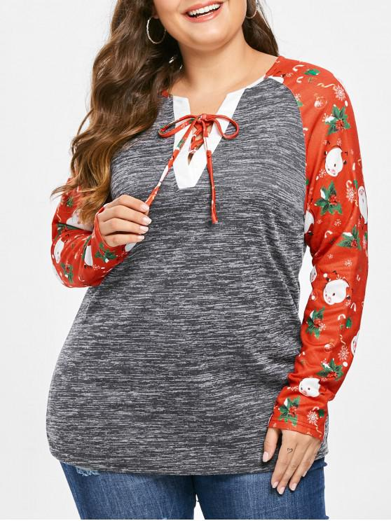 Plus Size Christmas Printed Marled T-shirt - Gray Cloud 4X