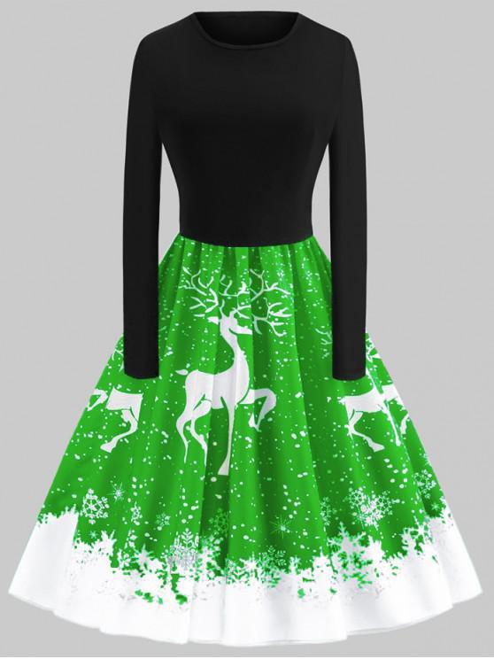 Plus Size Christmas Elk Printed Vintage Flare Dress - Verde L