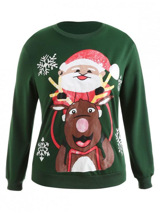 Plus Size Pullover Christmas Graphic Sweatshirt - Deep Green L