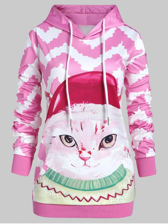 unique Plus Size 3D Cat Zigzag Pullover Hoodie with Pocket - PINK 2X
