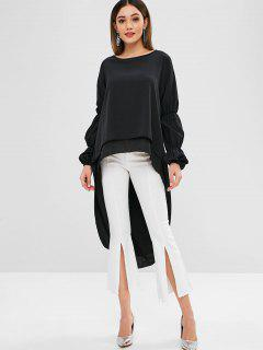 Long Sleeves Layered High Low Blouse - Black Xl