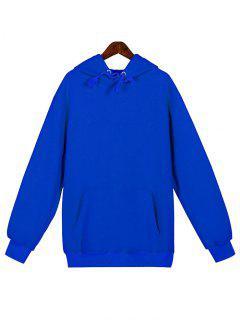 Solid Color Kangaroo Pocket Fleece Pullover Hoodie - Blue M