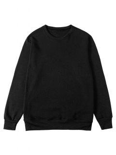 Solid Color Pullover Fleece Sweatshirt - Black M