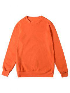 Solid Color Pullover Fleece Sweatshirt - Pumpkin Orange M