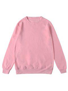 Solid Color Pullover Fleece Sweatshirt - Pink M