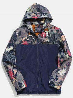 Floral Printed Patchwork Hooded Jacket - Midnight Blue M