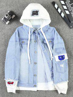 Casual Faux Pocket Ripped Letter Number Applique Chaqueta Con Capucha - Azul Claro M