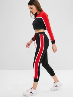 Striped Patched Crop Tee And Pants Set - Red M