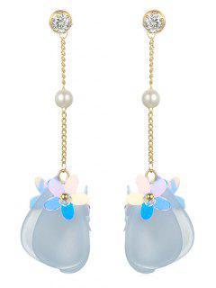 Rhinestoned Flower Printed Drop Earrings - Light Sky Blue
