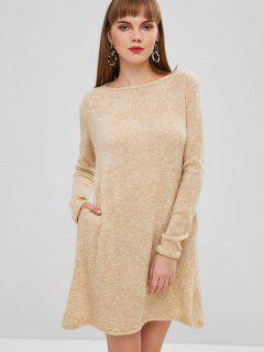 Solid Color Mini Sweater Dress - Tan Brown L