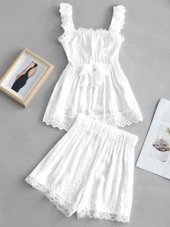 Lace Panel Tank Top And Shorts Set - White L