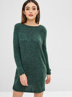 Solid Color Mini Sweater Dress - Deep Green M