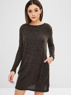 Solid Color Mini Sweater Dress - Taupe M