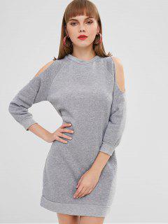 Cold Shoulder Mini Sweatshirt Dress - Gray S