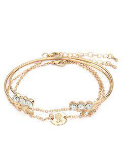 Rhinestoned Round Shape Metal Bracelet Set - Gold