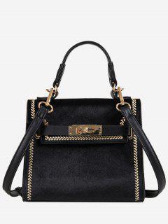 Suede Design Hasp Handbag - Black