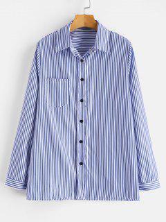 Chemise Rayée Avec Poche En Avant - Bleu Océan S