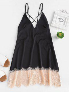 Backless Lace Insert Slip Night Dress - Black L