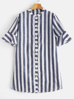 Chemise Longue à Rayures - Ardoise Bleue L