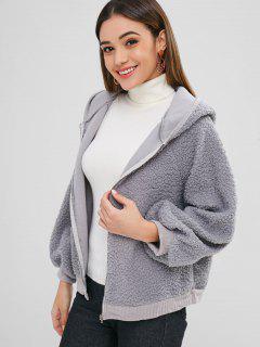 Lantern Sleeves Hooded Fluffy Coat - Gray L