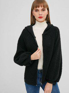 Lantern Sleeves Hooded Fluffy Coat - Black M
