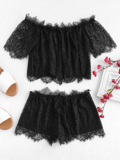 Off Shoulder Lace Top And Shorts Set - Black