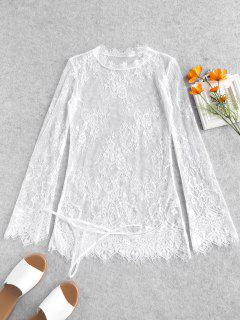 Lace Long Sleeve Scalloped Lingerie Dress - White