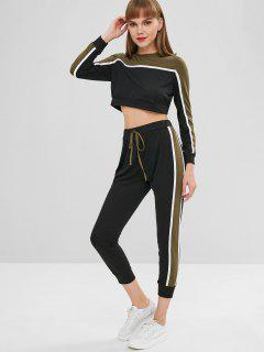 Striped Patched Crop Tee And Pants Set - Army Green S