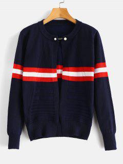 Beaded Openwork Striped Cardigan - Denim Dark Blue L
