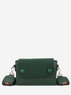 Striped Wideband Buttons Design Crossbody Bag - Medium Sea Green
