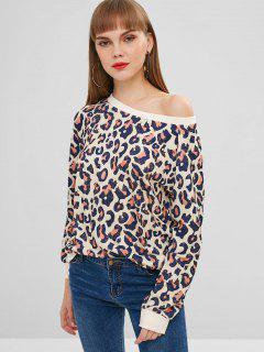 Raglan Sleeves Leopard Print Sweatshirt - Leopard L
