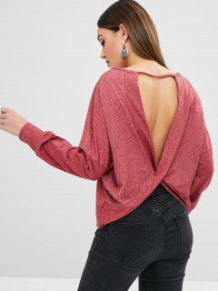 Twisted Back Plain Sweatshirt - Cherry Red L