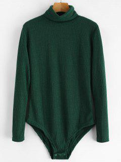 Turtleneck Ribbed Knit Bodysuit - Deep Green M