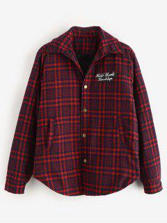 Letter Print Plaid Padded Jacket - Red Wine M