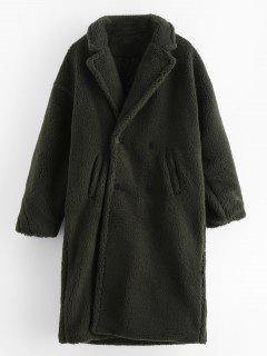 Solid Double Breasted Fluffy Trench Coat - Dark Green M