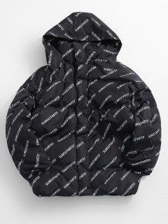 Contrast Letter Puffer Jacket - Black Xl