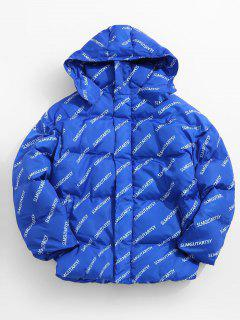 Contrast Letter Puffer Jacket - Blue Xl