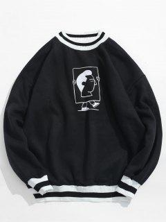 Edge Stripe Ribbed Graphic Fleece Sweatshirt - Black L