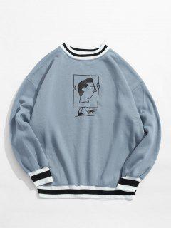 Geripptes, Grafisches Fleece-Sweatshirt Mit Randstreifen - Baby Blau L