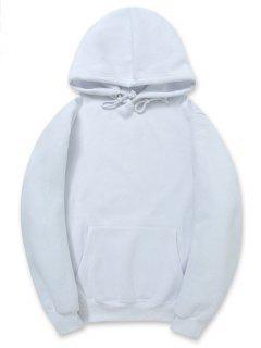 Casual Kangaroo Pocket Fleece Solid Color Hoodie - White S