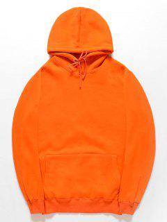 Casual Kangaroo Pocket Fleece Color Sólido Con Capucha - Naranja S