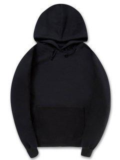 Casual Kangaroo Pocket Fleece Solid Color Hoodie - Black Xl