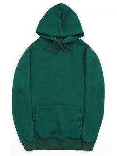 Casual Kangaroo Pocket Fleece Solid Color Hoodie - Medium Sea Green Xs